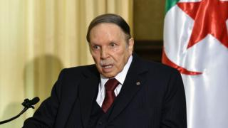 Algerian President Abdelaziz Bouteflika in a rare public appearance in 2016 at his residence in Zeralda (a suburb of the capital Algiers), receiving the then Prime Minister of France (not in the picture)