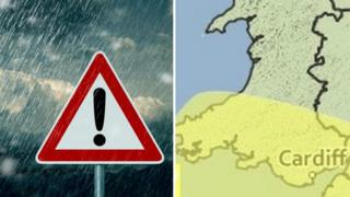 A rain warning sign and a map of Wales with the affected area in yellow