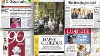 Front pages of newspapers from around the world reporting on Queen's anniversary