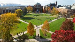 Syracuse University's quadrangle in autumn