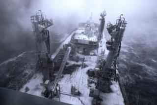 Snow can be seen on the deck of the RFA (Royal Fleet Auxiliary) Tidespring, during bad weather