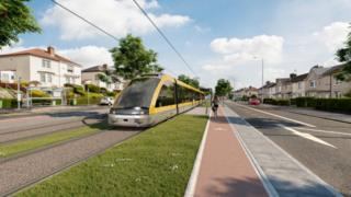 Visualisation of a tram on Edinburgh Road in Glasgow