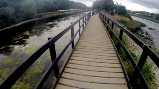 The greenway suspended on a wooden walkway