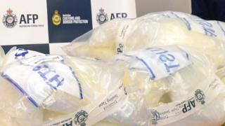 File photo shows bags of crystal methamphetamine seized by Australian police