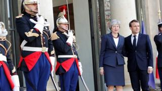 Theresa May and Emmanuel Macron at the Elysee Palace in Paris