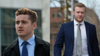 Paddy Jackson and Stuart Olding arrive at court on Monday