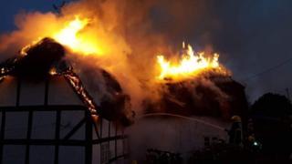 Thatch fire in Alresford