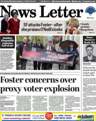 Tuesday front page News Letter