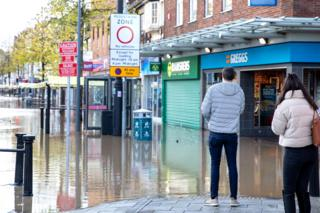 A flooded street in Worksop