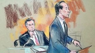 Court sketch showing Paul Manafort with attorney Richard Westling at US District Court in Washington, September 14, 2018