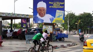 A street in Dakar, Senegal, showing an election poster