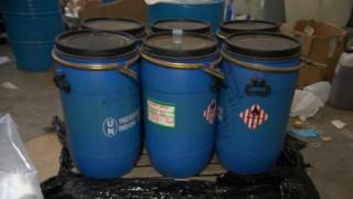 Containers labelled picric acid