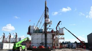 The Cuadrilla drill rig at Preston New Road shale gas exploration site