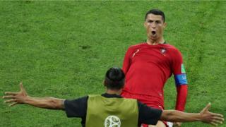 ronaldo celebrates scoring his second
