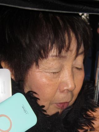 Chisako Kakehi with her eyes closed