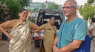 Sudha Bharadwaj after her arrest on Tuesday