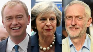 Tim Farron, Theresa May and Jeremy Corbyn