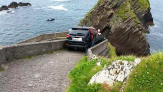 Car stuck on Dunquin pier