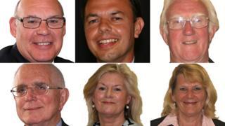 L-R from top: David Flagg, Paul Hilliard, Nick Geary, David Jones, Lesley Dedman and Margaret Phipps