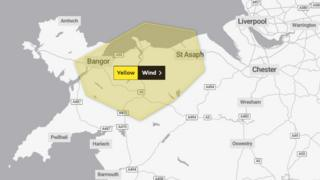 Yellow warning for strong winds - map showing north Wales