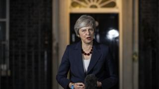 Prime Minister Theresa May makes a statement outside No10 Downing Street, London, confirming that Cabinet has agreed the draft Brexit withdrawal agreement on November 14th 2018