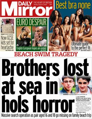 The Daily Mirror front page 17 August 2020