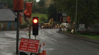 Temporary traffic lights on the A30 Newell in Sherborne