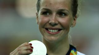 Becky James with silver medal