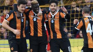 Les joueurs de Hull City jubilent après le premier but marqué à la 44e minute par Alfred Ndiaye