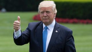 US President Donald Trump gives a thumbs up at the White House in Washington, 19 May 2017