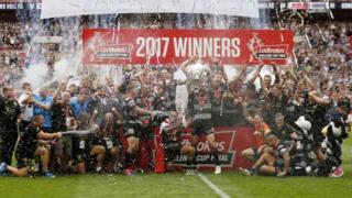 Hull FC celebrates a win against Wigan at Wembley