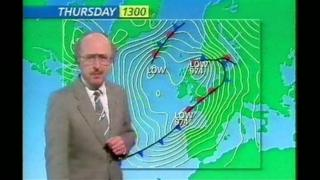 Michael Fish giving his infamous weather forecast in 1987