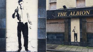Graffiti on Albion pub in Grimsby