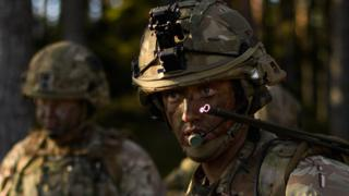 A British Army officer during a training exercise