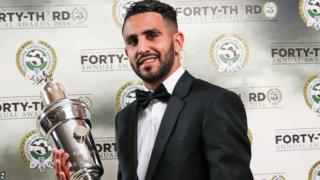 Riyad Mahrez with his PFA Player of the Year award