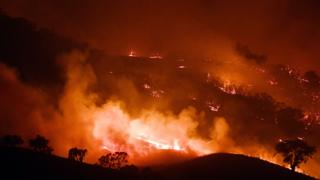 Fires burning near Mount Adrah in New South Wales