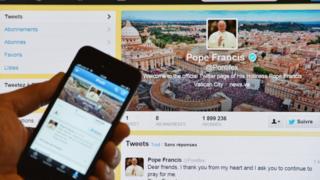 教宗方济各的推特帐户。