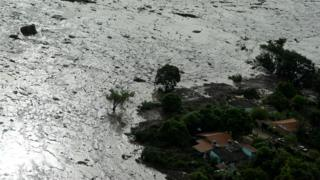 General view from above of a dam owned by Brazilian miner Vale SA that burst, in Brumadinho, Brazil
