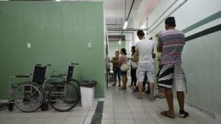 People line up to receive the yellow fever vaccine at a public health post in Caratinga, in the south-eastern state of Minas Gerais, Brazil, on January 13, 2017.