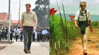 Prince Harry walking through the site of the minefield where Princess Diana, pictured alongside that picture, visited