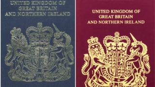 A Blue and Burgundy British passport