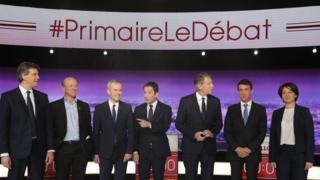 From L-R): Arnaud Montebourg, Jean-Luc Bennahmias, Francois de Rugy, Benoit Hamon, Vincent Peillon, Manuel Valls and Sylvia Pinel