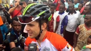 Boivin Guillome wo mu ikipe ya Cycling Academy yo muri Israel wegukanye agace ka Kigali-Ngoma