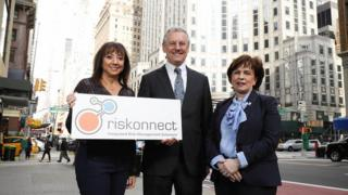 Pictured in New York are Minister Diane Dodds, Kevin Holland, Invest NI CEO, and Andrea Brady, Chief Marketing Officer at Riskonnect.