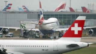 Planes on runway at Heathrow