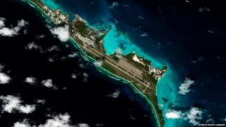 Satellite image of Diego Garcia, a 44-square-kilometre atoll of coral and sand in the Indian Ocean