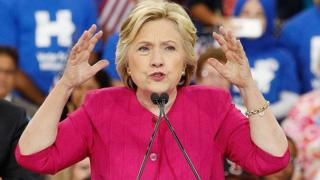 Hillary Clinton speaks at a rally in Philadelphia following the Democratic National Convention.