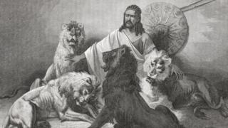 Tewodros II, Emperor Of Ethiopia, sits surrounded by lions. Taken from El Mundo En La Mano, published in 1875.