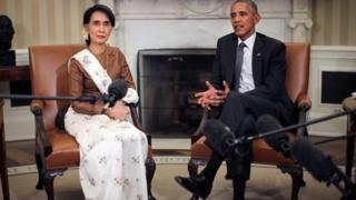 Barack Obama talks to the media as he meets with Myanmar's State Counsellor Aung San Suu Kyi at the Oval Office