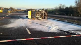 Overturned tanker on M5